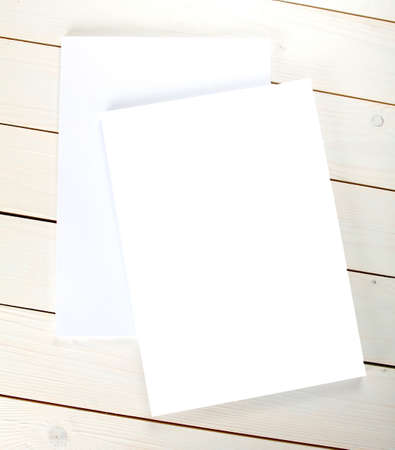 replace: Blank flyer poster on wood to replace your design