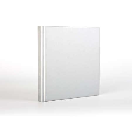 影で白い背景上の空白の本カバー 写真素材