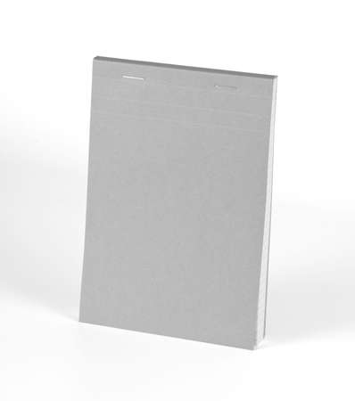 note pad: Blank gray notebook isolated on white background
