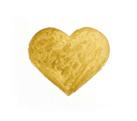 Painting of big golden heart over white background
