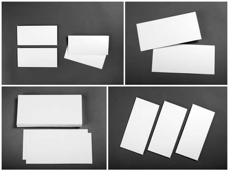 Set of Blank white flyers over gray background. Identity design. Flyer Mockup. Corporate templates. Reklamní fotografie