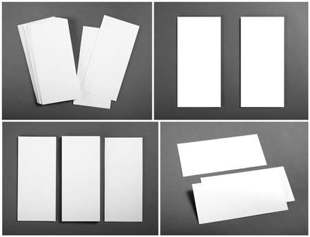 note booklet: Set of Blank white flyers over gray background. Identity design. Flyer Mockup. Corporate templates. Stock Photo