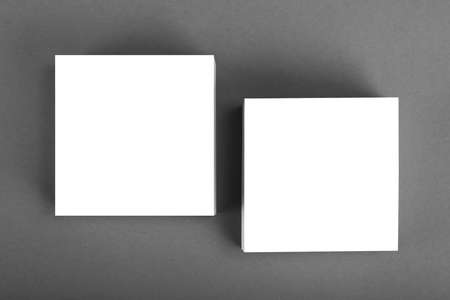 handouts: Collection of white note papers on gray background