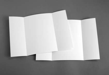 replace: Blank gate fold brochure on grey to replace your design