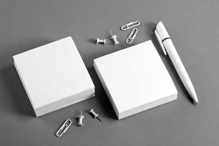 Set of white corporate identity template on gray background Stock Photo