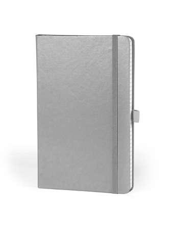 elastic band: Moleskin notebook with elastic band on white background Stock Photo