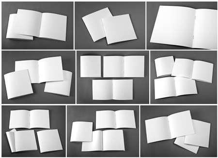 Set of blank magazine, catalog, brochure, magazines, book on gray background. Reklamní fotografie