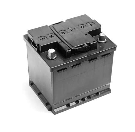 ampere: Black car battery isolated on a white background