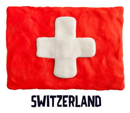 plasticine: Flag of the Switzerland made of plasticine
