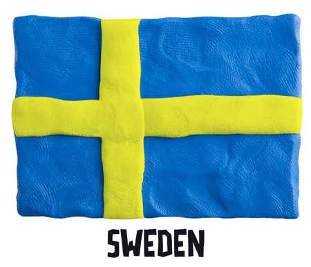 plasticine: Flag of the Sweden made of plasticine Stock Photo