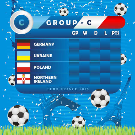 tournament chart: European Soccer Championship Group Stages, illustration. Group C