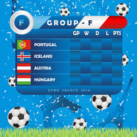 European Soccer Championship Group Stages, illustration. Group F