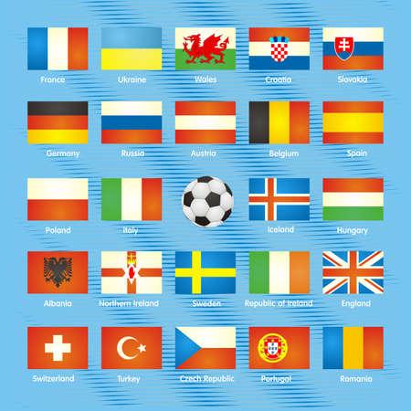 uefa: UEFA EURO 2016 member countries flags. The flags of members of European championship 2016.