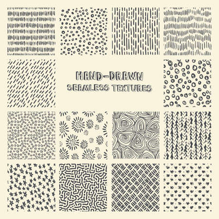 scratchy: Set of  marker and ink seamless patterns. Simple  scratchy textures with dots, strokes and doodles.