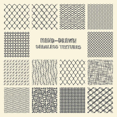squiggles: Set of  marker and ink seamless patterns. Simple scratchy textures with dots, strokes and doodles.