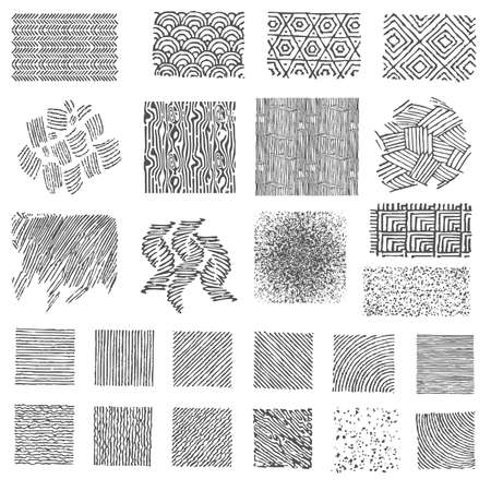 Set of hand drawn marker patterns. Doodle Textures