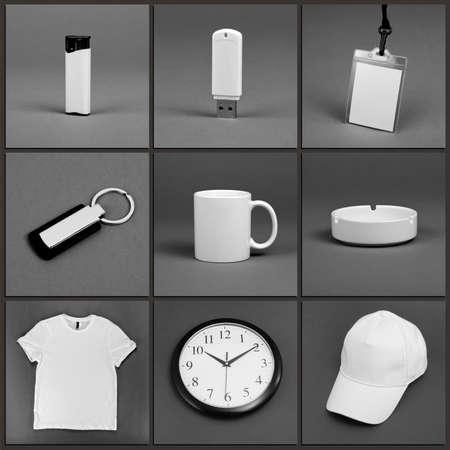 Blank stationery set for corporate identity system on gray background Reklamní fotografie
