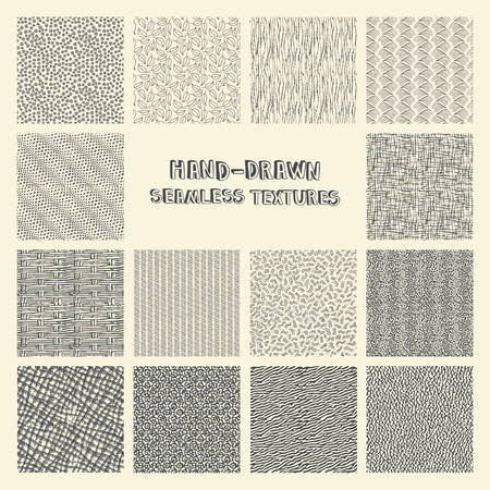 squiggles: Set of hand drawn marker and ink seamless patterns