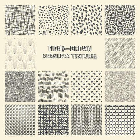 garabatos: Conjunto de marcador de tinta dibujado a mano y patrones de costura Vectores