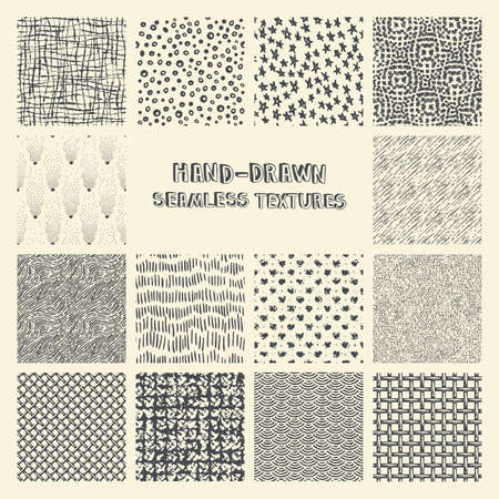 scrawl: Set of hand drawn marker and ink seamless patterns