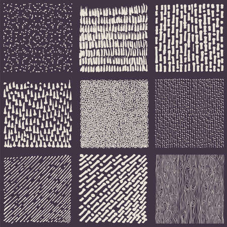 scratchy: Set of hand drawn marker and ink patterns. Simple scratchy textures with dots, strokes and doodles