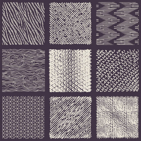 Set of hand drawn marker and ink patterns. Simple scratchy textures with dots, strokes and doodles Ilustração Vetorial