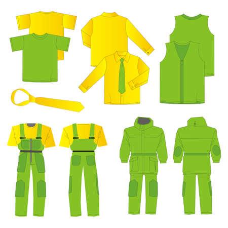 Kolekcja mężczyzn ubrania robocze (przód, tył, wyświetleń)
