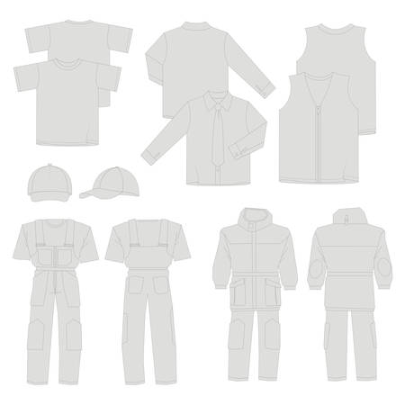 hooded vest: Collection of men work clothes (front, back, views) Illustration