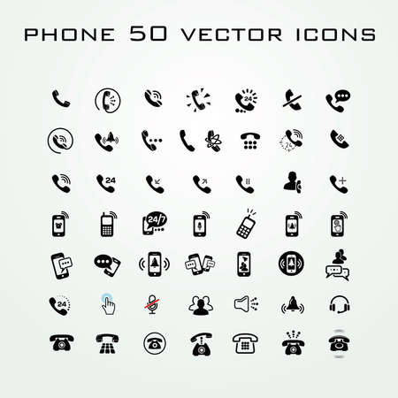 50 Universal Outline Icons of phones For Web and Mobile Vetores