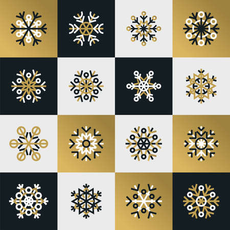 golde: Snowflakes of various type and squares. Abstract simple geometrical background with snow crystal. Flat design.