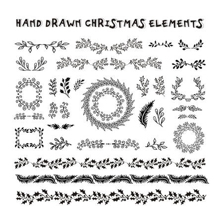 holiday garland: Collection Hand Drawn design elements. Christmas garland, border, brushes. New year doodle pattern texture Illustration