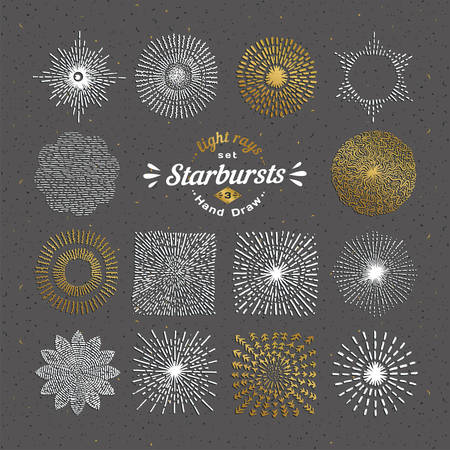 sunbeam: Set of starbursts. Vintage design elements. Retro style line art decorative sunbeams. Hand drawn sunshine shapes