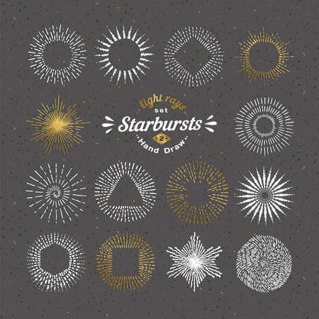 Ensemble de starbursts. Vintage éléments de conception. Rétro ligne art de style sunbeams décoratifs. Dessinés à la main des formes d'ensoleillement