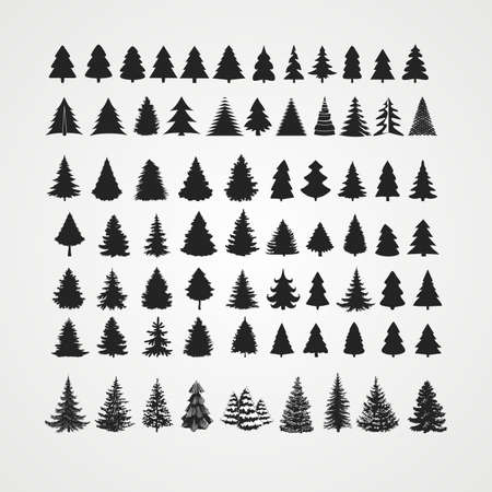 Christmas tree silhouette design vector set. Concept tree icon collection.Isolated on white background Ilustrace