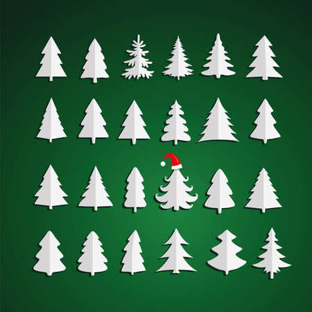 Christmas kit of trees on green background. Fir tree icons.