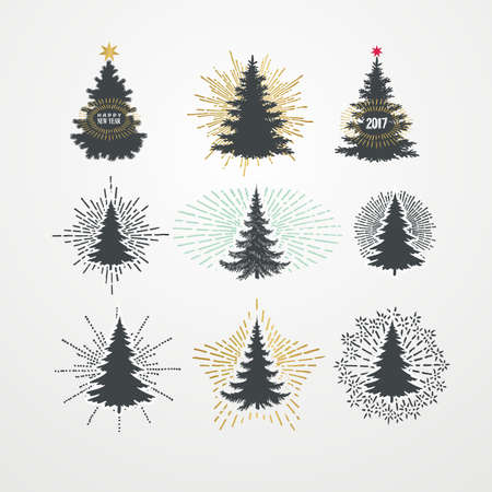 sunbeam: Vector illustration of different christmas trees with starburst