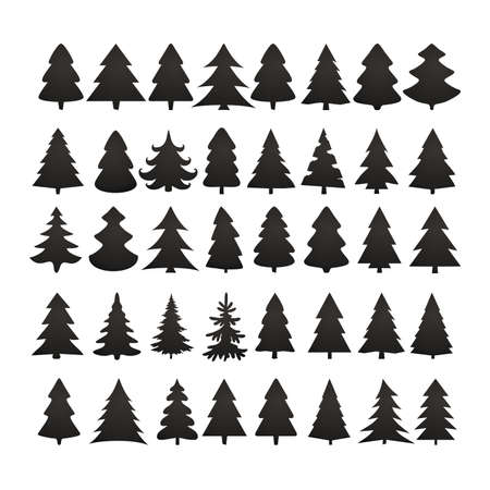 tree: Christmas tree silhouette design vector set. Concept tree icon collection