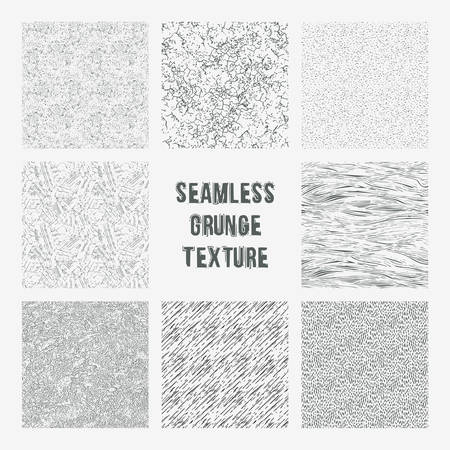 grange: Set of grange seamless patterns. Simple vector scratch textures with dots, strokes and doodles Illustration