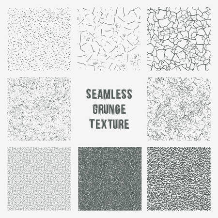 Set of grange seamless patterns. Simple vector scratch textures with dots, strokes and doodles Иллюстрация