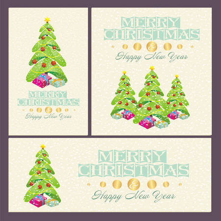 lustre: Christmas And New Year cards with  decorations, trees and gifts
