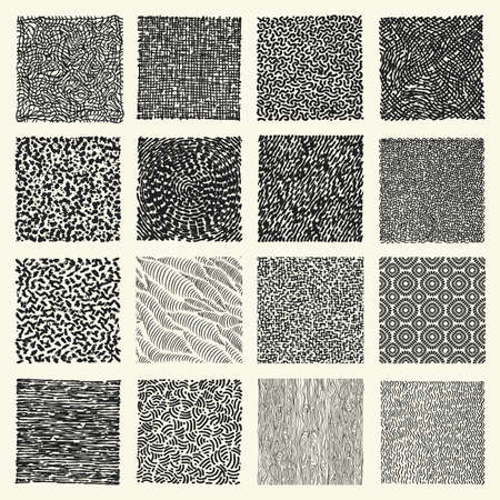 Set of hand drawn marker and ink patterns. Simple vector scratch textures with dots, strokes and doodles.