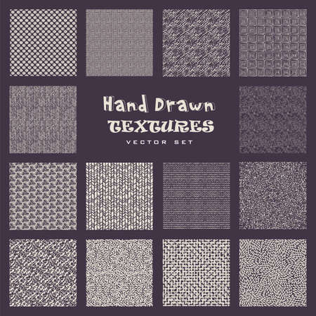 Set of hand drawn marker and ink patterns. Simple vector scratch textures with dots, strokes and doodles. Ilustração Vetorial