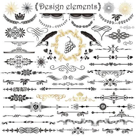 Vector set of calligraphic design elements and page decor Ilustracje wektorowe
