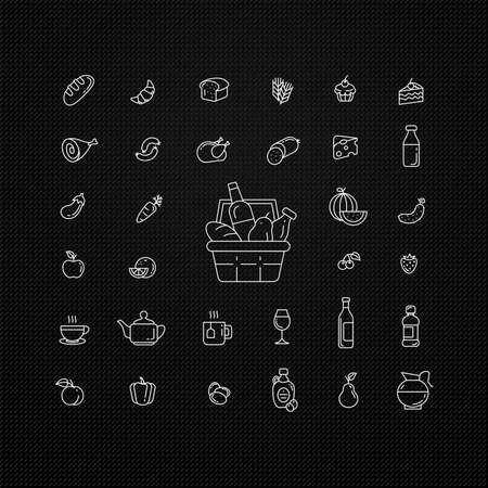 Set of food and drinks icons for restaurant, grocery store, commercial, mobile and web. Collection infographic logo and pictogram