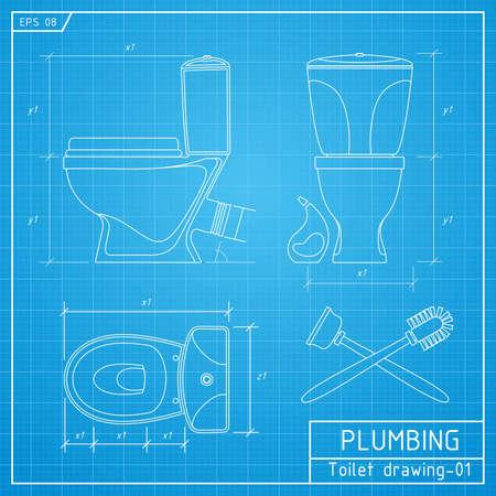 Toilet bowl outline. Front, side and top view. Vector illustration on blueprint background Illustration
