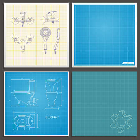 Toilet bowl and faucet outline. Front, side and top view. Vector illustration on blueprint