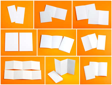 Identity design, corporate templates, company style, set of booklets, blank white folding paper flyer on orange background Stock Photo
