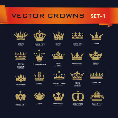 authority: Vector collection of creative king, queen, princess, pope crowns symbols or logo elements. Set of Geometric vintage crown