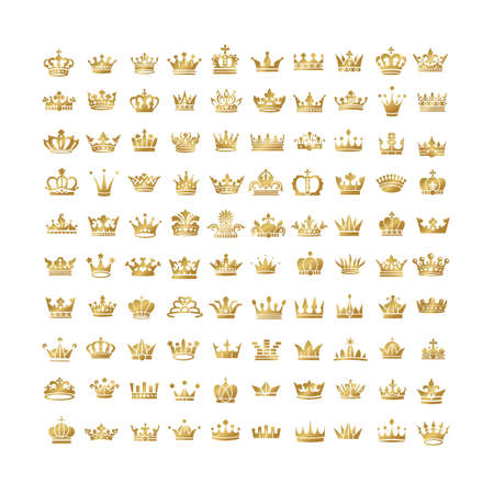 authority: Vector collection of creative king and queen crowns silhouette. Illustration