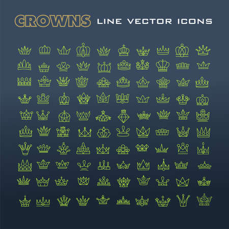 authority: A Vector heraldic elements design. Set of green line crowns.